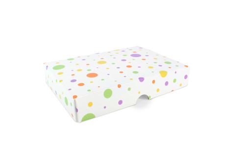 12 Choc Fold-up Lid in Printed Spots and Dots Design
