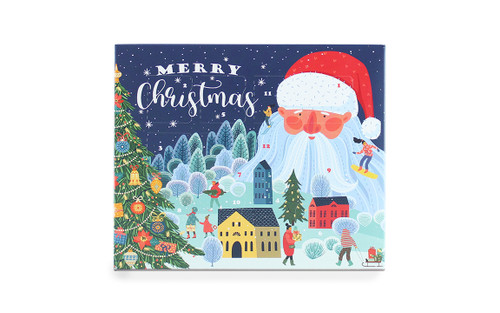 Front view of the self-fill 12 Day advent calendar. Blue advent with santa clause illustration