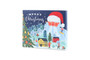 Angled view of the self-fill 12 Day advent calendar. Blue advent with santa clause illustration