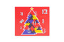 Front view of the 12 Day self-fill advent calendar. Red box with geometric styled tree