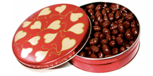 6 Inch Design Tin, filled w/Sugar-Free Vanilla Caramels, Toffee or Taffy (about 7 oz)