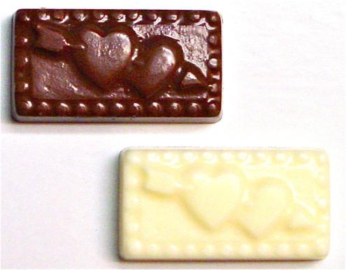 "Sugar Free Chocolate ""Hearts w/Cupid's Arrow"" .3 oz, individually wrapped, Set of 4"