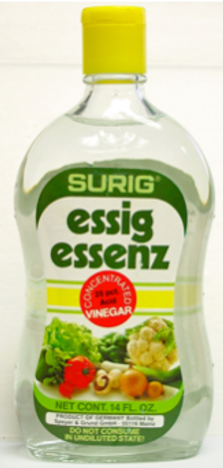 Surig Essig Essenz Concentrated Vinegar 25%, 14 oz Bottle
