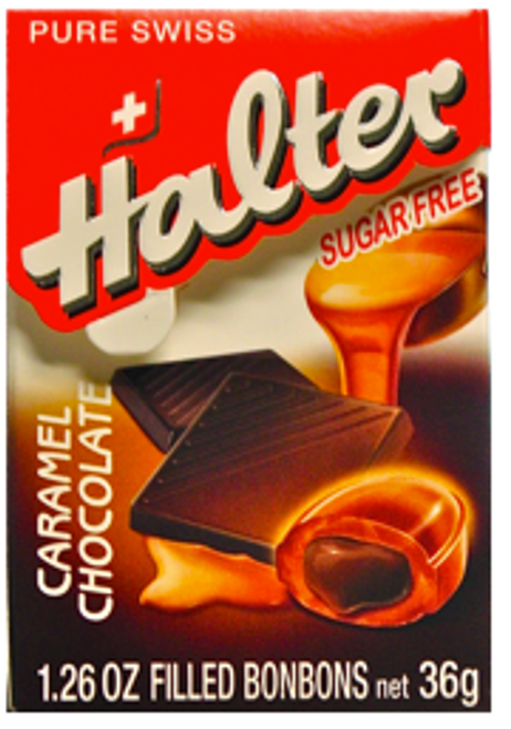 Halter Caramel Bonbons, CHOCOLATE FILLED & Sugar Free, 1.26 oz box