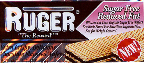 RUGER'S CHOCOLATE or VANILLA CREME FILLED SUGARFREE WAFERS 1.6 OZ