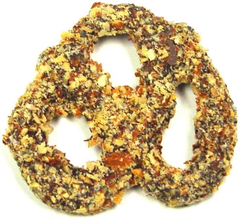 Sugar Free Milk Chocolate Covered Pretzels Coated in Crushed Roasted Almonds & Sea Salt, 14 oz