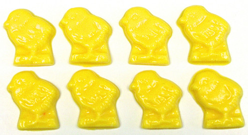 Sugar Free Yellow Easter Chicks, (Chocolate) Set of 8 in clear bag with tiny pink bow, ttl weight 1.3 oz