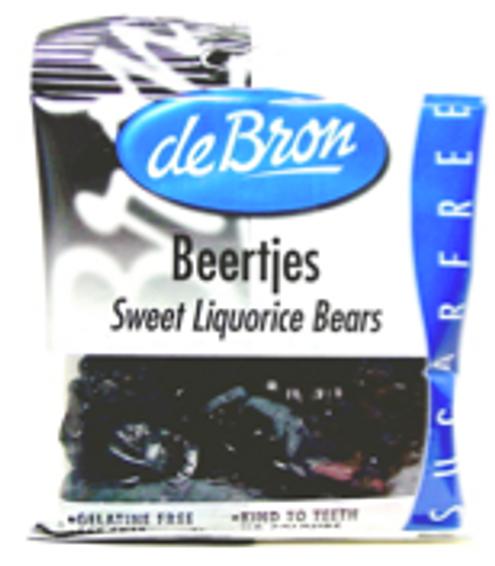 deBron's Beertjes, Sweet Sugarfree Licorice Bears, Gelatine Free, Gluten Free, No Artificial Colors, Liquorice 100g 3.53oz