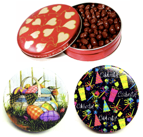 Round Tin Filled with 1.2 lbs of Our Finest Panned NSA (No Sugar Added) Nuts & Fruits, Coated in Sugar-Free Chocolate