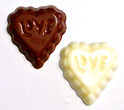 """Sugar Free Chocolate Valentine's Day """"LOVE"""" Hearts, .3 oz each, Acetate Bagged, Set of 6"""