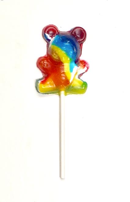 "Sugar Free Hard Candy ""CRAZY BEAR"" Tutti Fruiti Lollipops, Set of 3, individually wrapped"