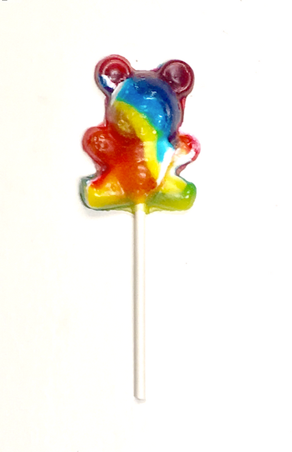 "Sugar Free Hard Candy ""CRAZY BEAR"" Tutti Fruiti Lollipops, Set of 3, individually wrapped"