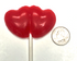 "Sugar Free Hard Candy ""Double Hearts"" Cherry Lollipops, Set of 3, individually wrapped"