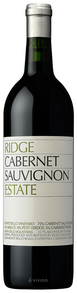 Ridge Estate Cabernet Sauvignon Santa Cruz Mountains California 2014