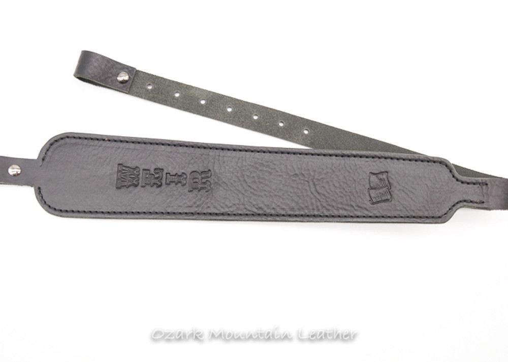 Custom leather rifle sling in black.  Can be personalized with name or initials made for gun with swivels.  Hunting sling