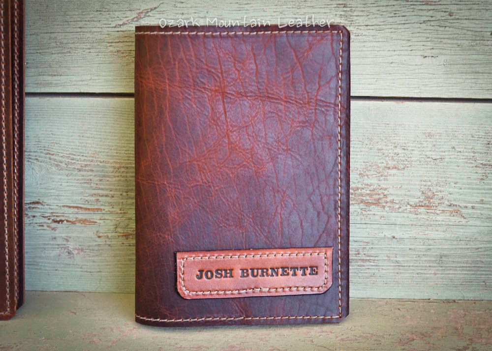 Bison leather Bible or book cover made from bison leather by Ozark Mountain Leather.  Can have custom name plate added.