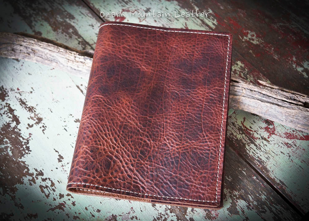 Bison leather Bible or book cover made from bison leather by Ozark Mountain Leather.