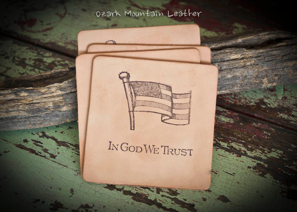"""Leather coaster set of 4 American Flag """"In God We Trust""""."""