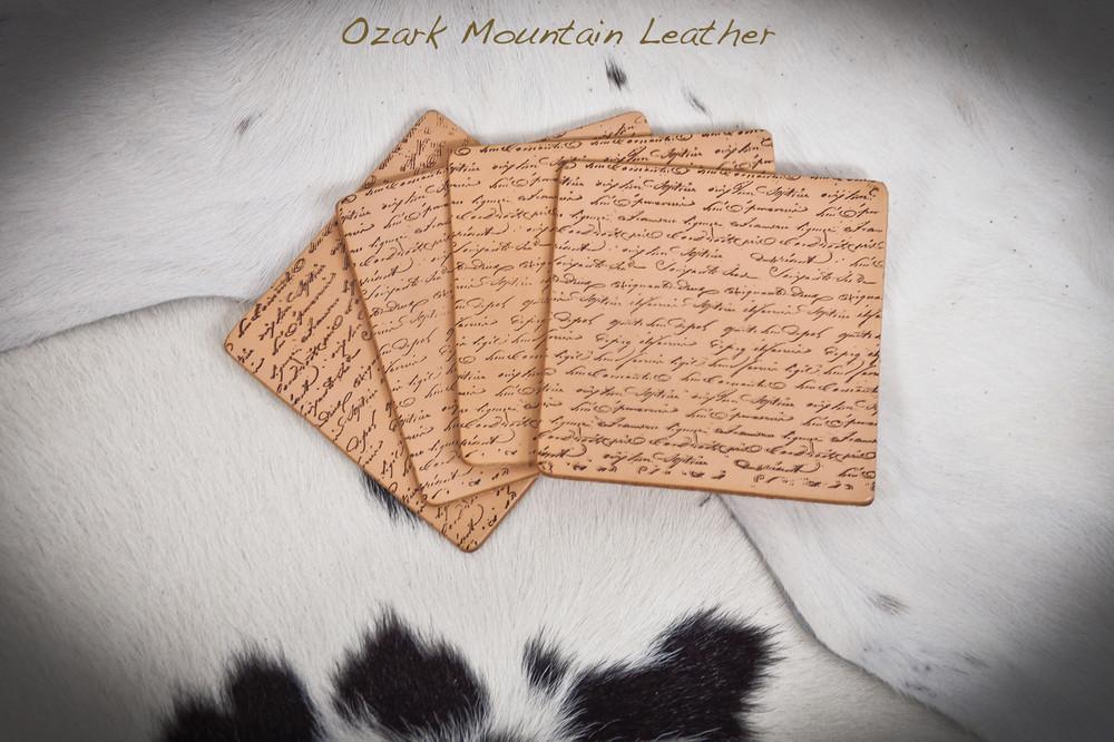 "Leather Coaster Set ""Italian Love Letter"""