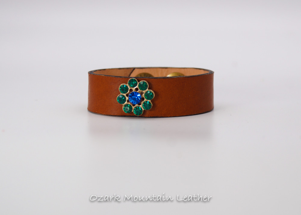 Vintage Leather Cuff  on brown with blue and green rhinestones