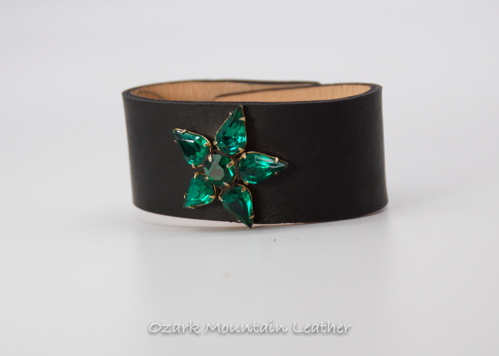 Vintage leather cuff with green rhinestones on black leather