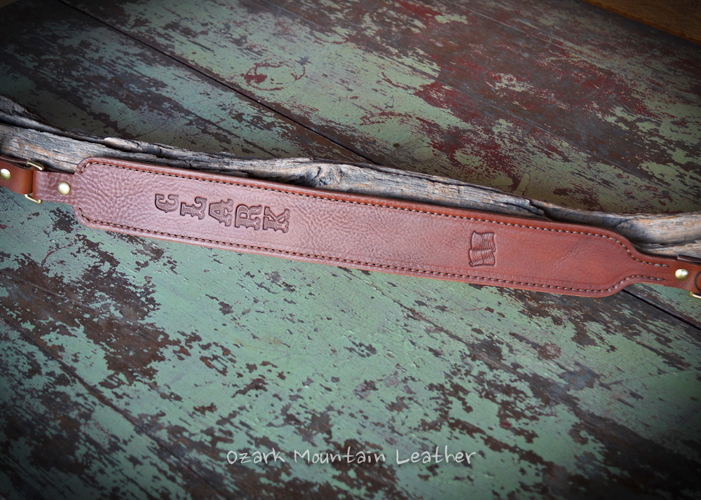 Custom leather shot gun rifle sling in brown.  Can be personalized with name or initials and also a custom stamp option.