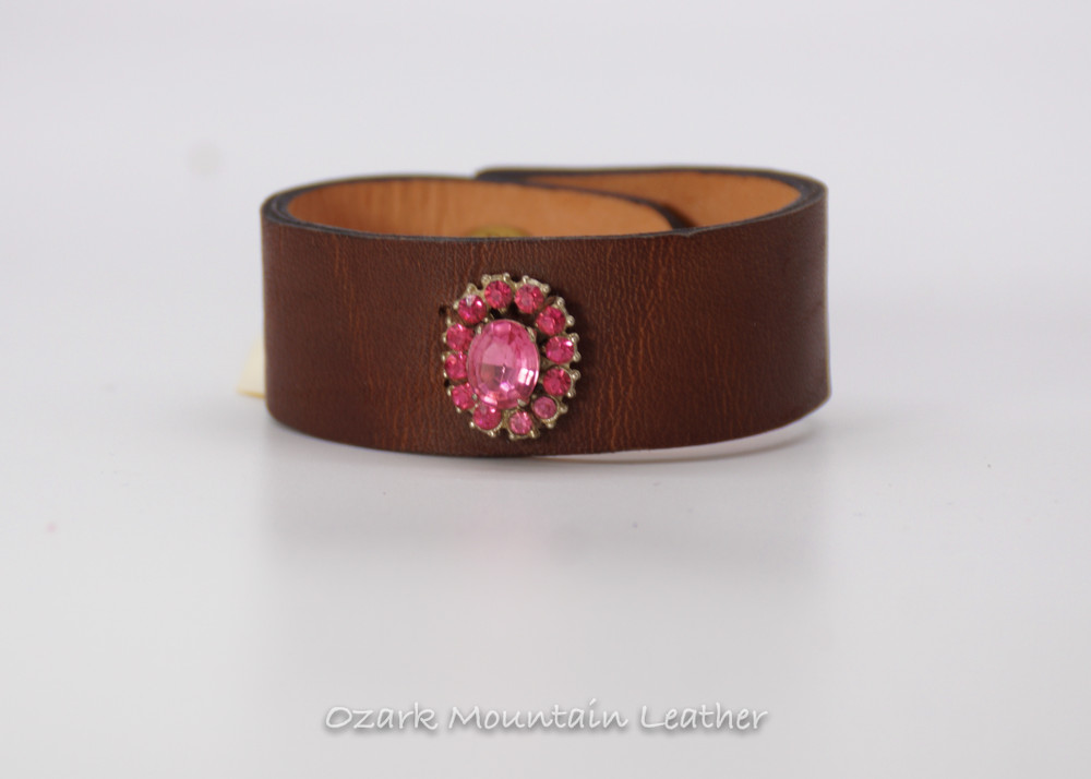 Pink vintage rhinestones on brown leather cuff