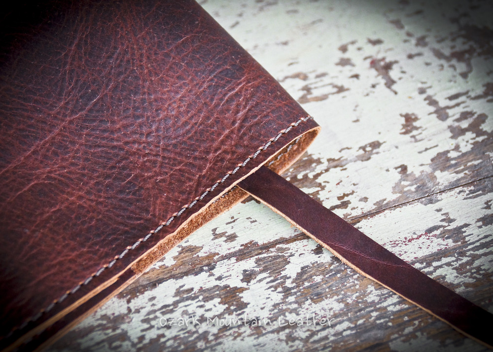 Bison Leather Bible cover with bookmark sewn in.  Bison leather Bible or book cover handmade in the USA.