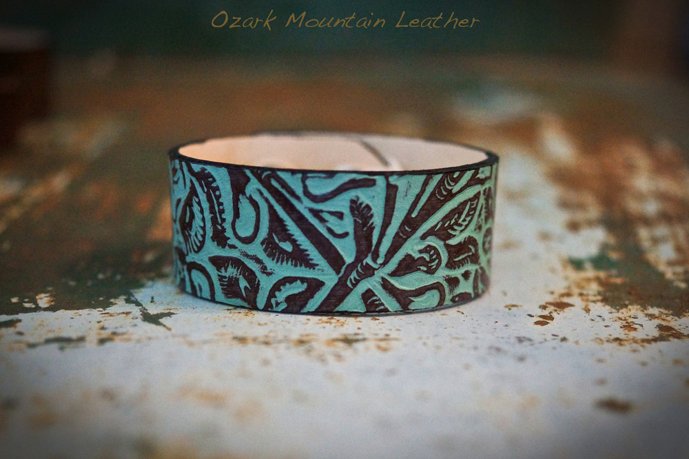 Turqouise Leather Floral Embossed bracelet/cuff