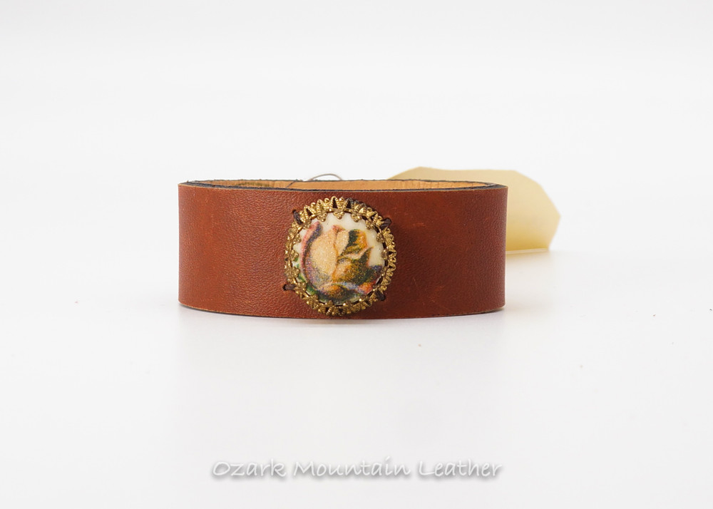 Sugard flower brooch on brown Horween leather cuff