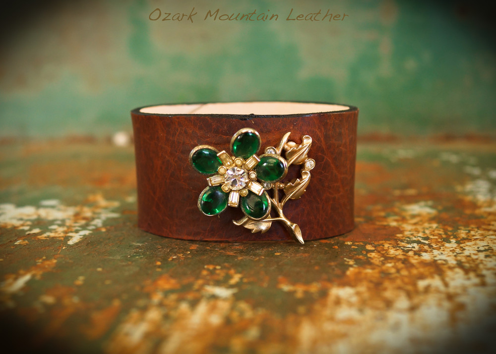 Green floral vintage rhinestones on brown leather cuff