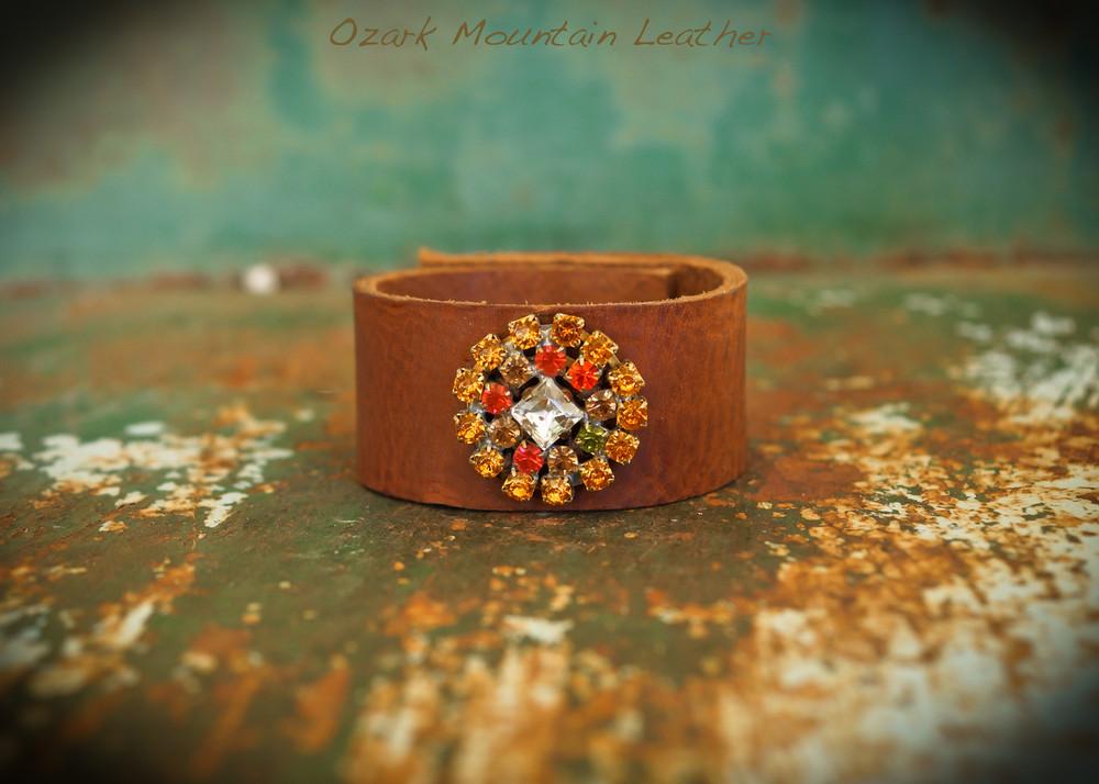Orange vintage rhinestones on brown leather cuff