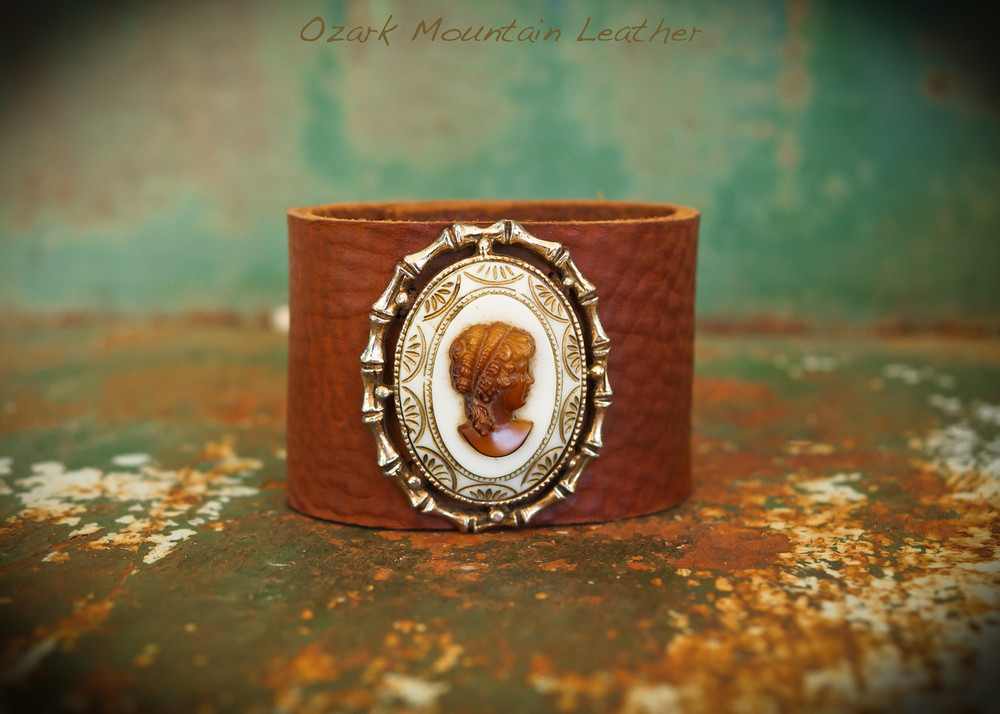 Vintage Cameo bamboo Cuff with brown leather