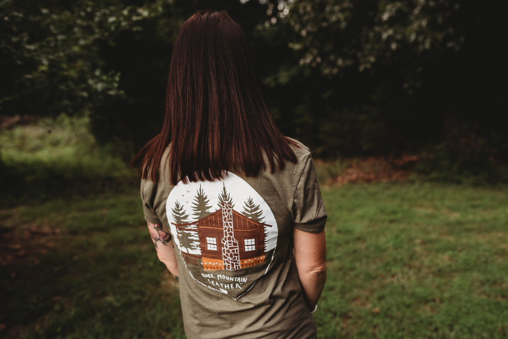 Ozark Mountain leather Cabin tee t-shirt in military green with bison front