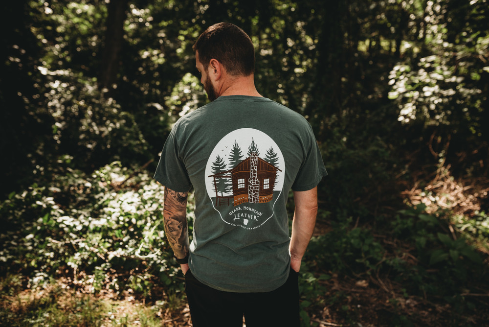 Ozark Mountain leather Cabin tee t-shirt in Blue Spruce green with bison front