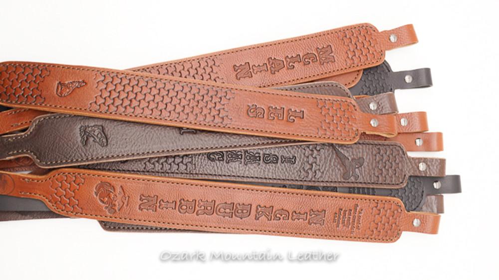 custom rifle sling, personalized rifle sling, leather rifle sling, handmade rifle sling by Ozark Mountain Leather