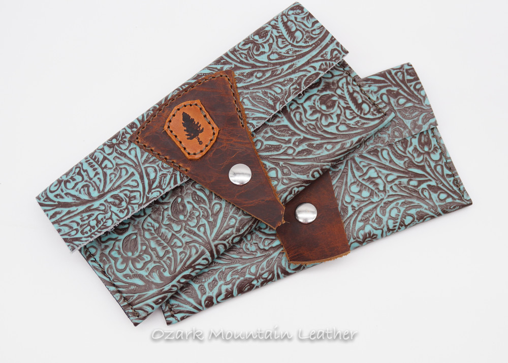 Bison & Turquoise Leather Wallet (ready to ship)