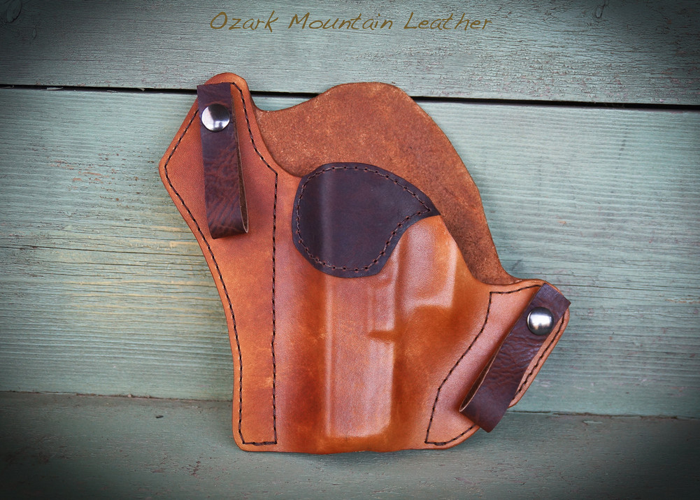 Bison and vegetable tanned leather holster for inside the waistband.