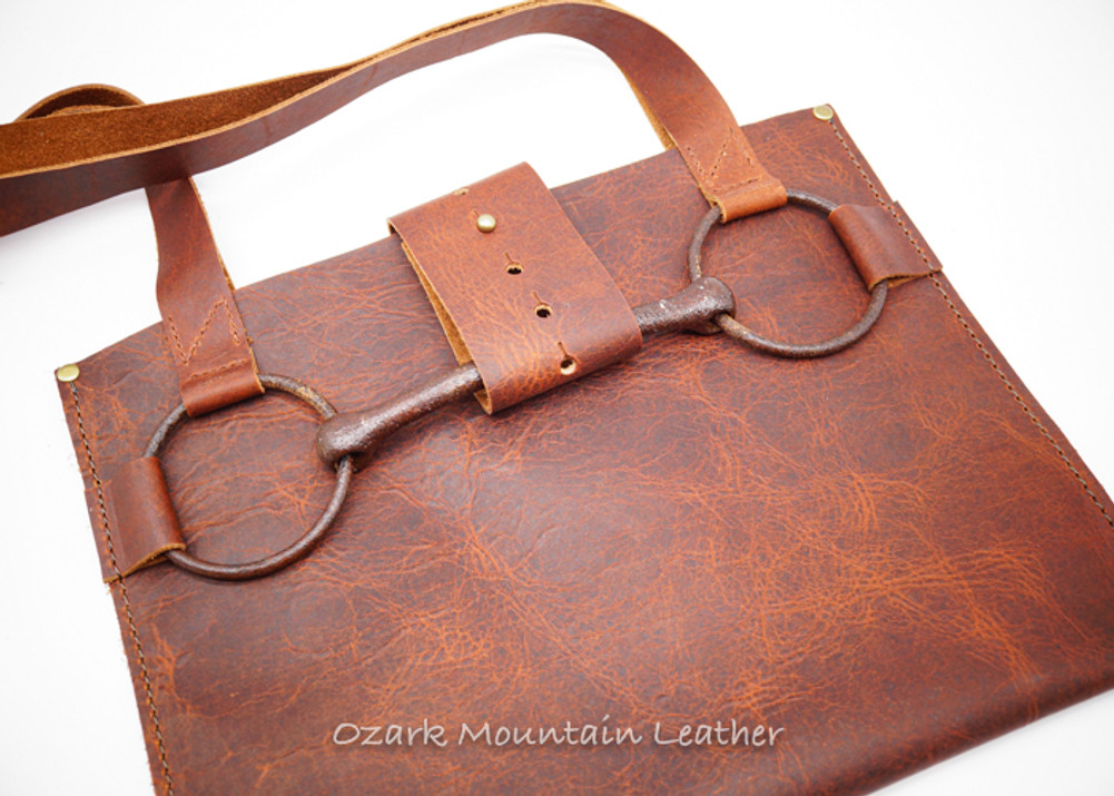 Bison leather Horse Bit tote bag or purse.