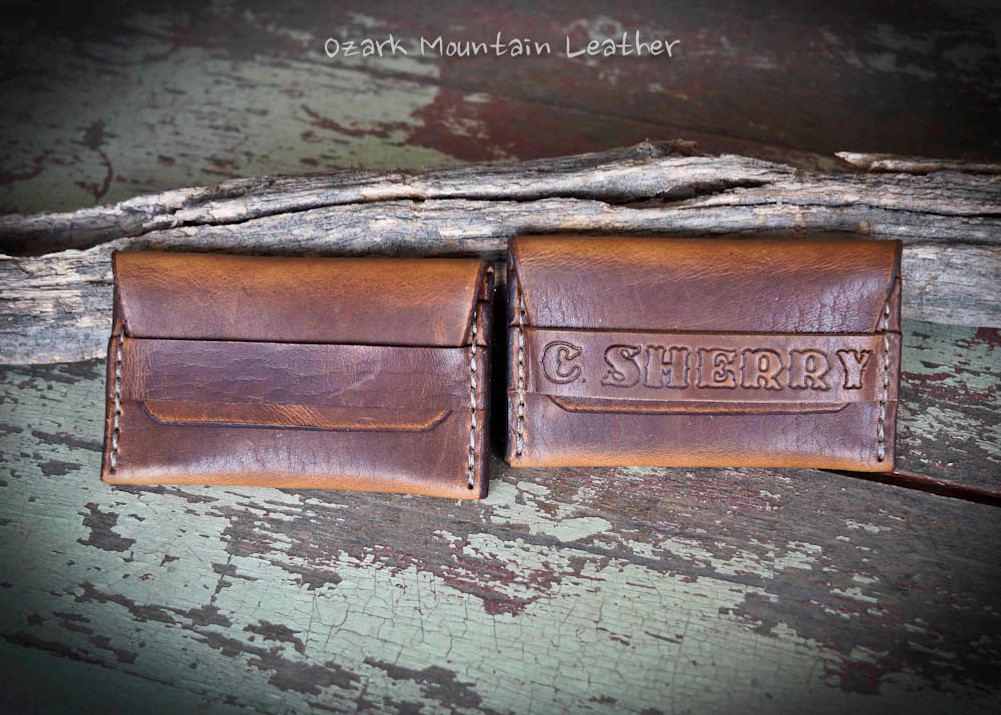 Horween leather card wallet in brown.  Customizable with name or initials.
