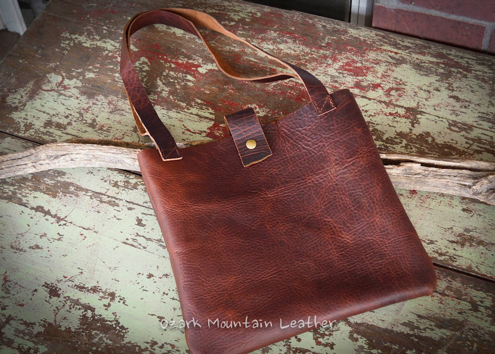 Bison leather tote bag in brown color.  Makes great everyday bag.