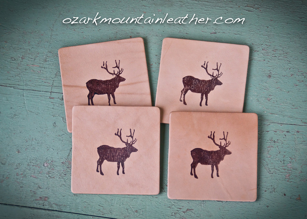 Leather Coaster set rustic buck deer design.