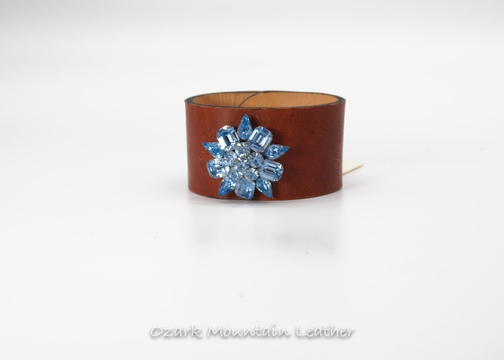 Vintage  Leather Cuff in brown with blue rhinestones