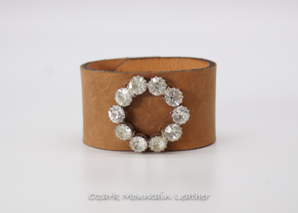 Vintage leather cuff with clear rhinestones
