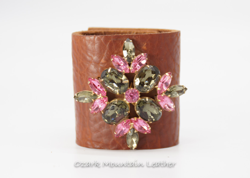Vintage Pink and smokey rhinestones on brown leather cuff