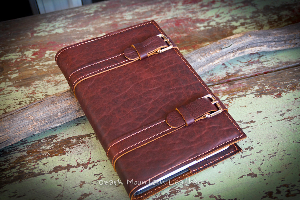 Bison leather Bible or book cover with double straps by Ozark Mountain Leather.