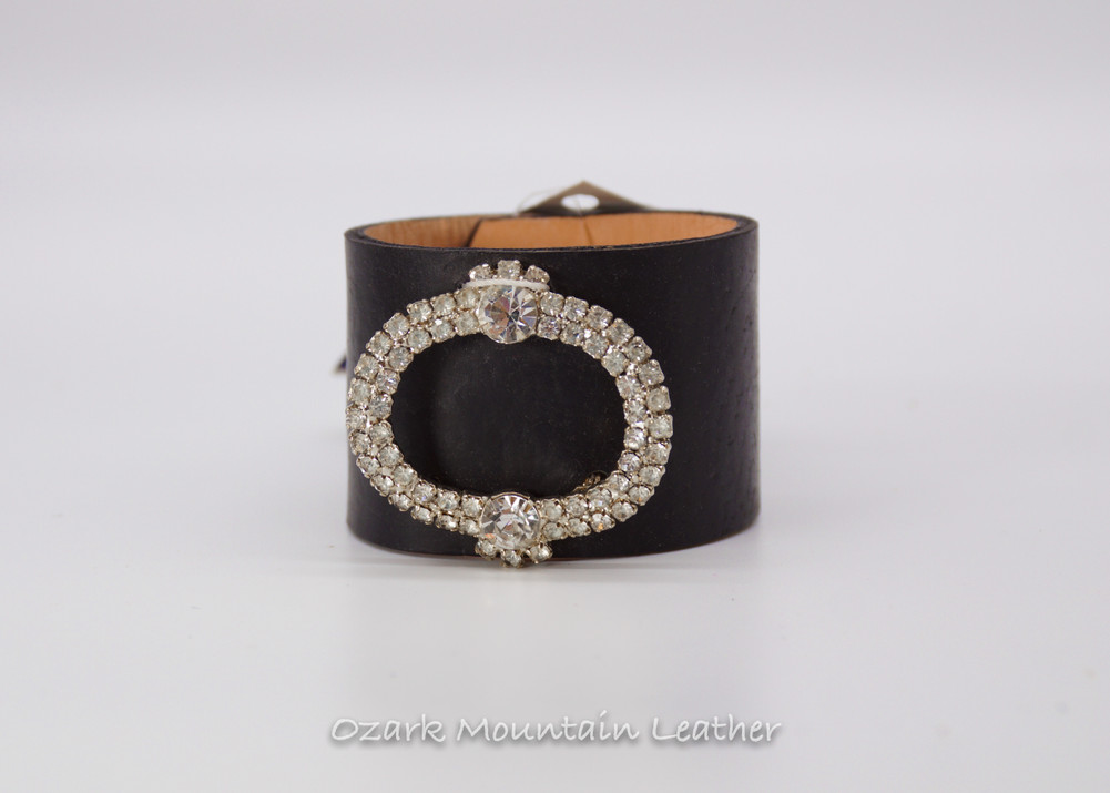 White vintage rhinestone shoe clip on black leather cuff