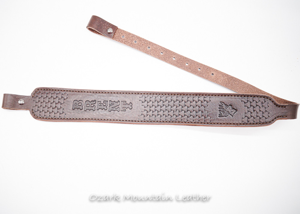 Rifle sling, leather rifle sling.  Custom leather rifle sling made by Ozark Mountain Leather.  Customize with name or initials and hand-tooling.