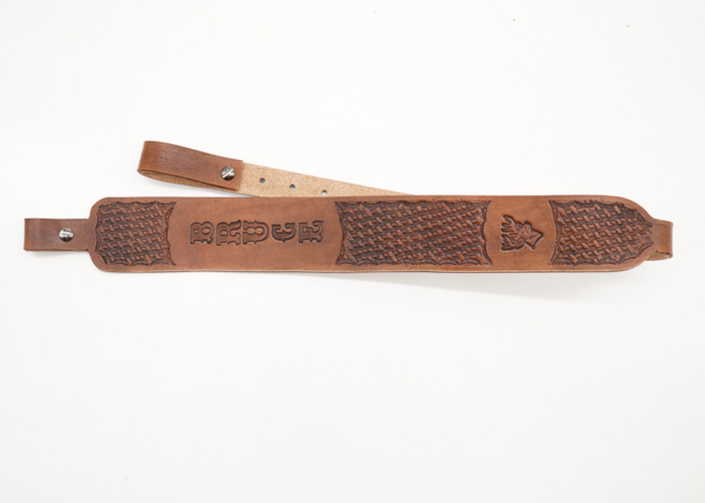 Vegitable tanned leather hand-tooled leather rifle sling, gun sling customized with name or initials. Personalized leather rifle sling or hunting sling
