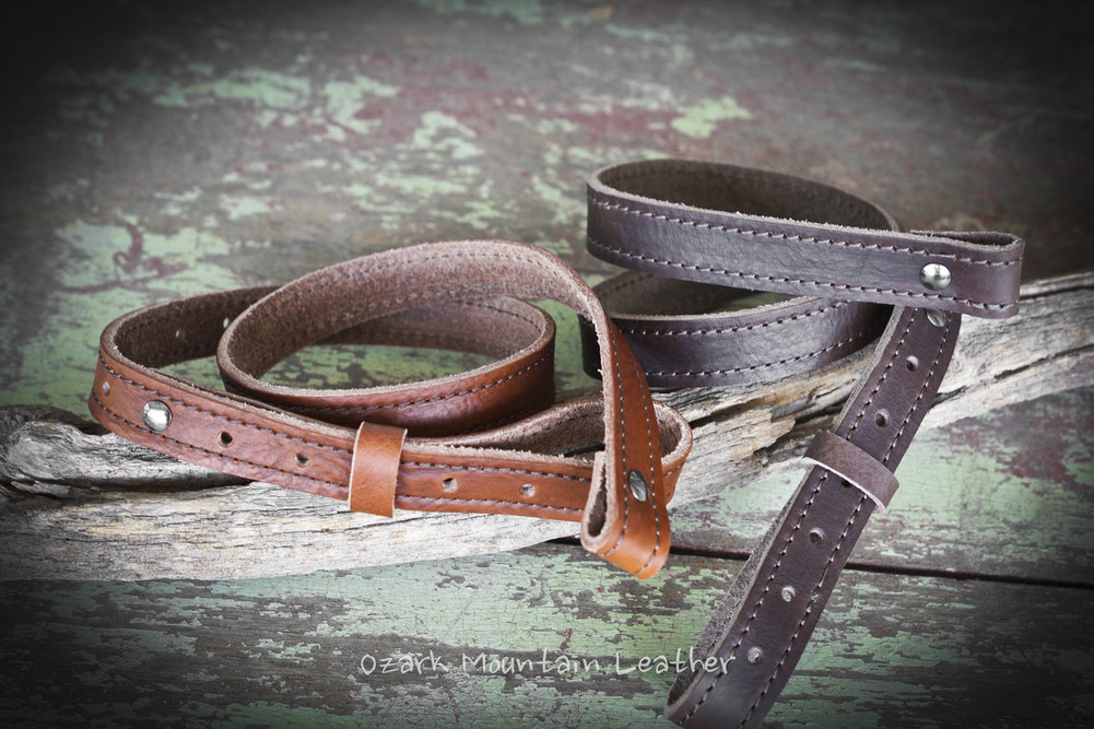 Custom one inch rifle sling strap for a gun with swivels in Austin Brown, chocolate and black. Handmade in the USA.